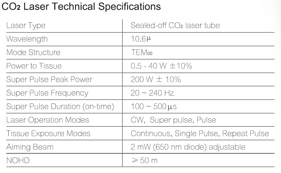Cortex CO2 & Er: YAG Laser Technical Specification